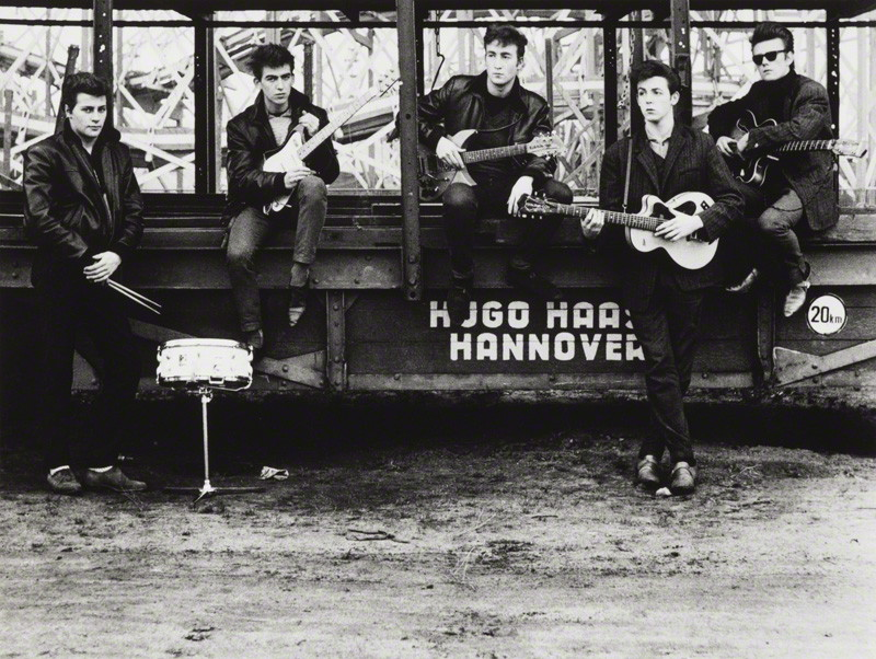 NPG P1690; The Beatles (Pete Best; George Harrison; John Lennon; Paul McCartney; Stuart Sutcliffe) by Astrid Kirchherr