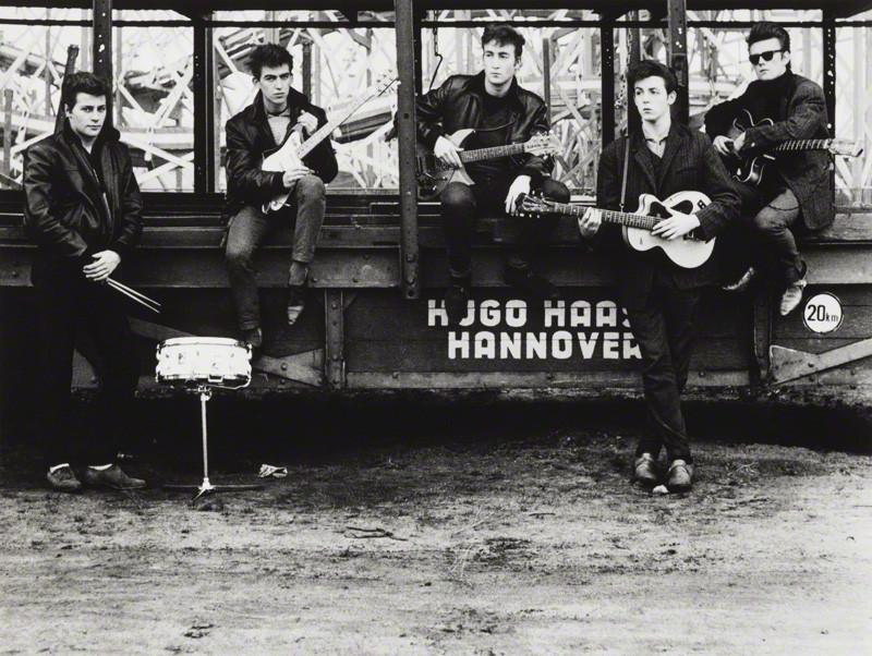 NPG P1690; The Beatles (Pete Best; George Harrison; John Lennon; Paul McCartney; Stuart Sutcliffe) by Astrid Kirchherr