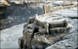 Icicles at Hukou Waterfall.