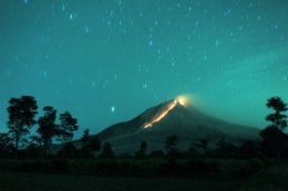 Lava Glows from Mount Sinabung.