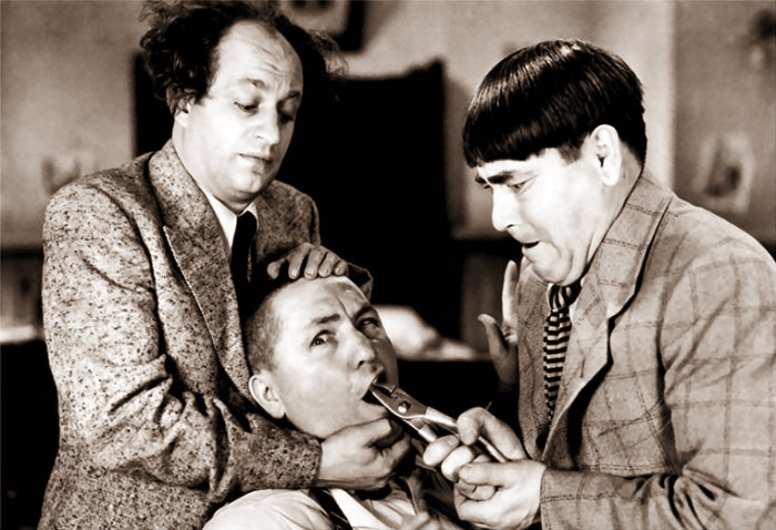 Framed-Art Print-08520-The Three Stooges Tooth Pull-People-Giclee Paper-A