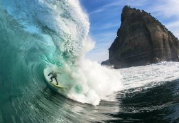 Surfing Shipstern Bluff, Tasmania by Luke Shadbolt.