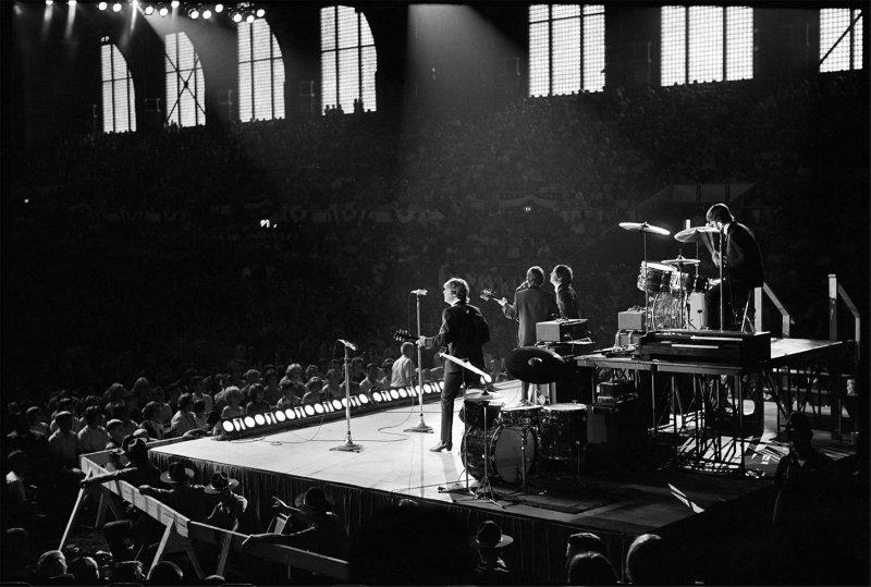 beatles on stage from behind
