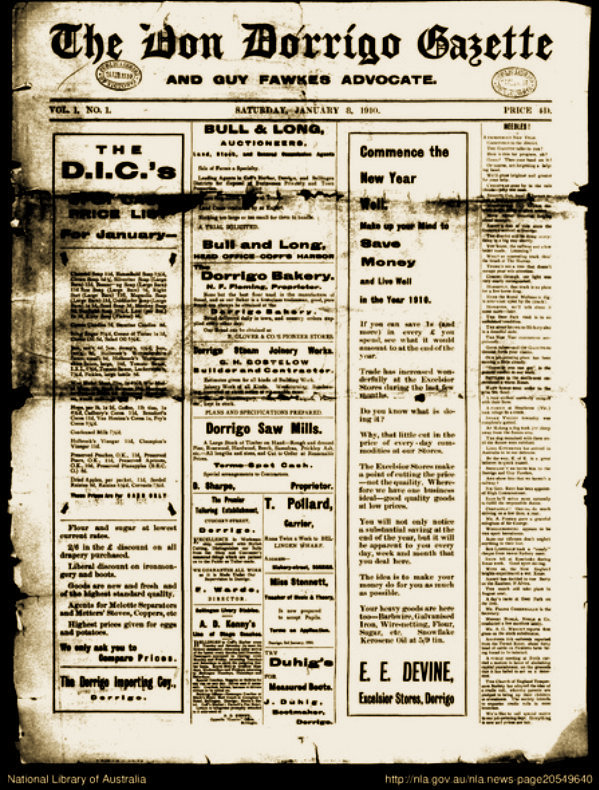 front_page_of_the_don_dorrigo_gazette_and_guy_fawkes_advocate_8_january_1910