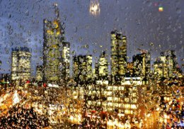 The Buildings of Frankfurt seen through a Raindrop stainedWindow.