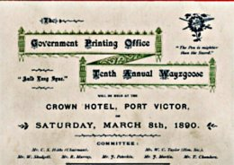 The Old Guv Wayzgoose Programme, Port Victor 1890.